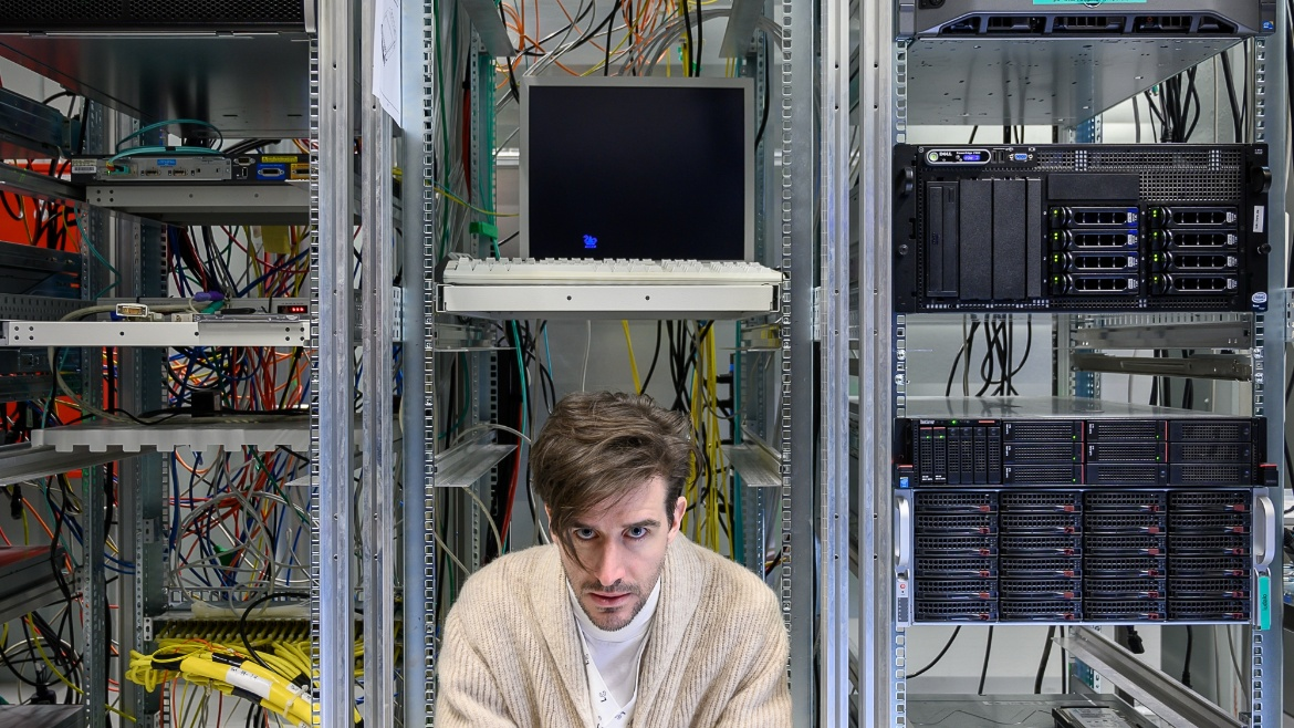 "Actor Marco Massafra plays the part of Johann Wilhelm Möbius in Dürrenmatts ""The physicists"", here in the High-Performance Computing Center at the University of Stuttgart"