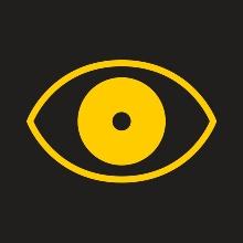 Gelbes Augesymbol auf einem schwarzen Hintergrund