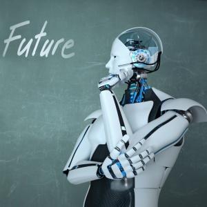 Humanoider Roboter denkt über die Zukunft nach.